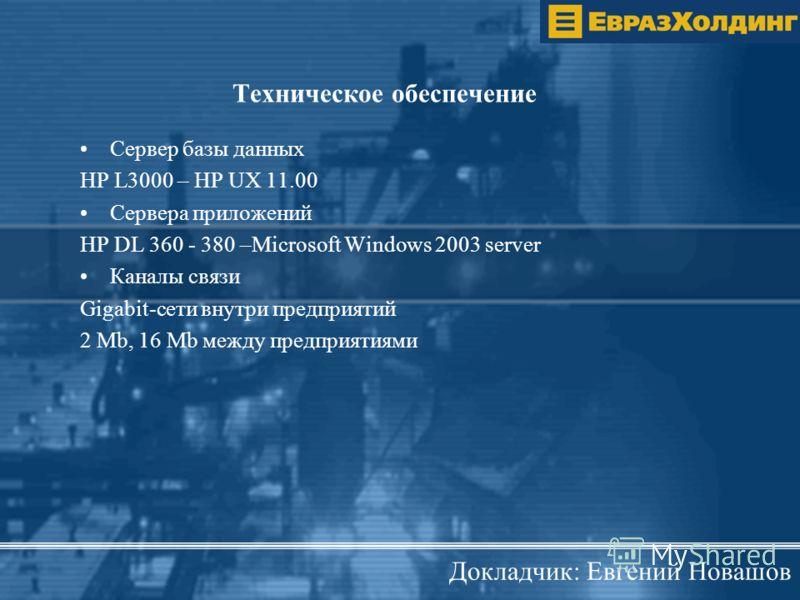 Техническое обеспечение Сервер базы данных HP L3000 – HP UX 11.00 Сервера приложений HP DL 360 - 380 –Microsoft Windows 2003 server Каналы связи Gigabit-сети внутри предприятий 2 Mb, 16 Mb между предприятиями Докладчик: Евгений Новашов