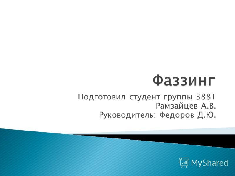 Подготовил студент группы 3881 Рамзайцев А.В. Руководитель: Федоров Д.Ю.