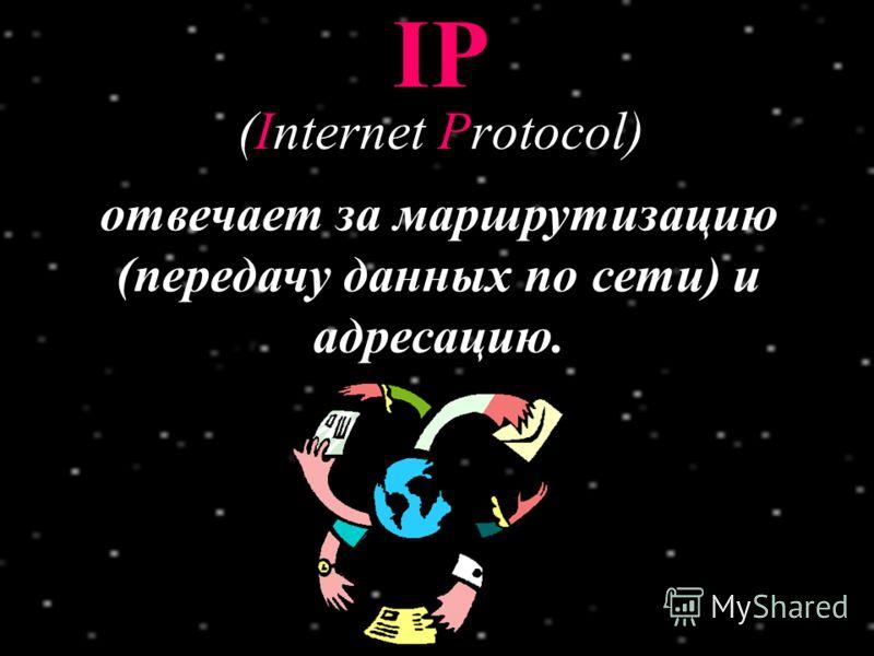 Разбивает передаваемую информацию на пакеты. К каждому пакету добавляется заголовок с адресами отправителя и получателя, номерами этого и следующего пакетов. В конечном пункте TCP отвечает за сборку пакетов по их нумерации. TCP (Transmission Control