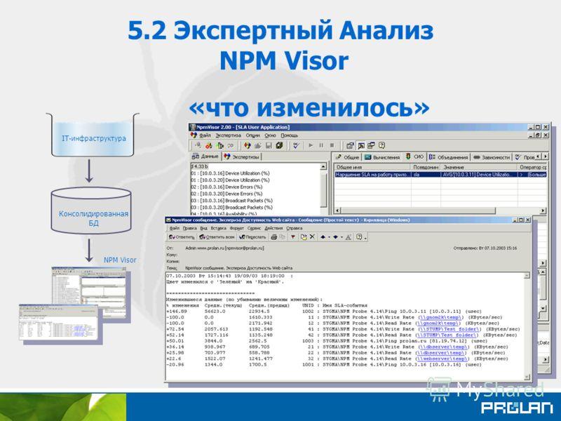 5.2 Экспертный Анализ NPM Visor «что изменилось» Консолидированная БД IT-инфраструктура NPM Visor