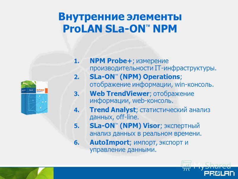 Внутренние элементы ProLAN SLa-ON NPM 1. NPM Probe+; измерение производительности IT-инфраструктуры. 2. SLa-ON (NPM) Operations; отображение информации, win-консоль. 3. Web TrendViewer; отображение информации, web-консоль. 4. Trend Analyst; статистич