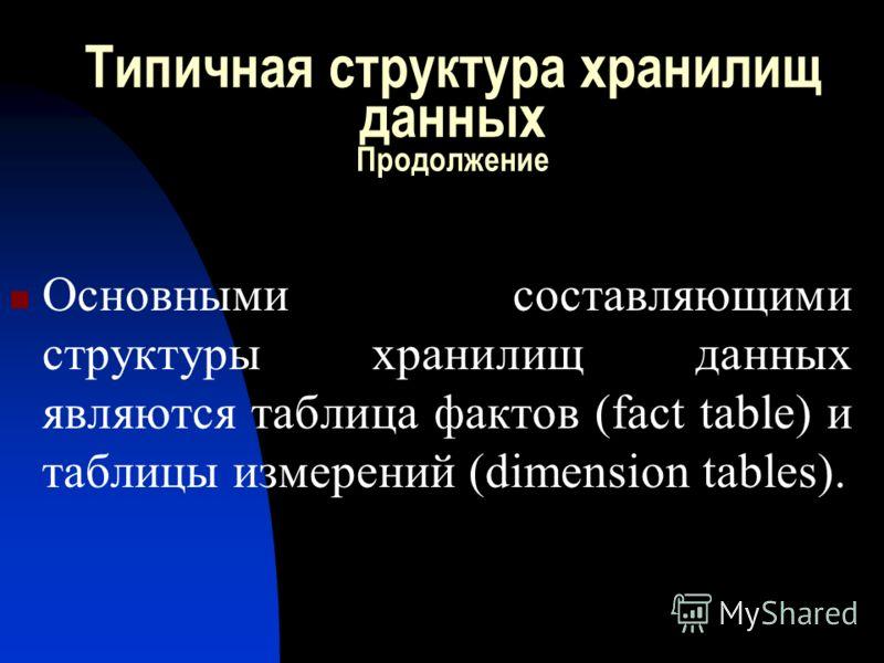 Типичная структура хранилищ данных Продолжение Основными составляющими структуры хранилищ данных являются таблица фактов (fact table) и таблицы измерений (dimension tables).