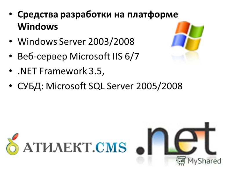 Средства разработки на платформе Windows Windows Server 2003/2008 Веб-сервер Microsoft IIS 6/7.NET Framework 3.5, СУБД: Microsoft SQL Server 2005/2008