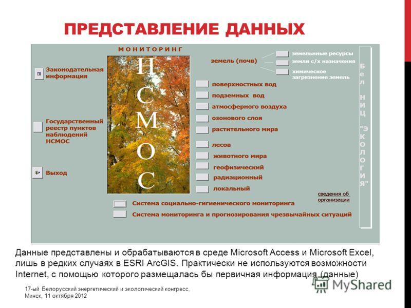 ПРЕДСТАВЛЕНИЕ ДАННЫХ 17-ый Белорусский энергетический и экологический конгресс, Минск, 11 октября 2012 Данные представлены и обрабатываются в среде Microsoft Access и Microsoft Excel, лишь в редких случаях в ESRI ArcGIS. Практически не используются в