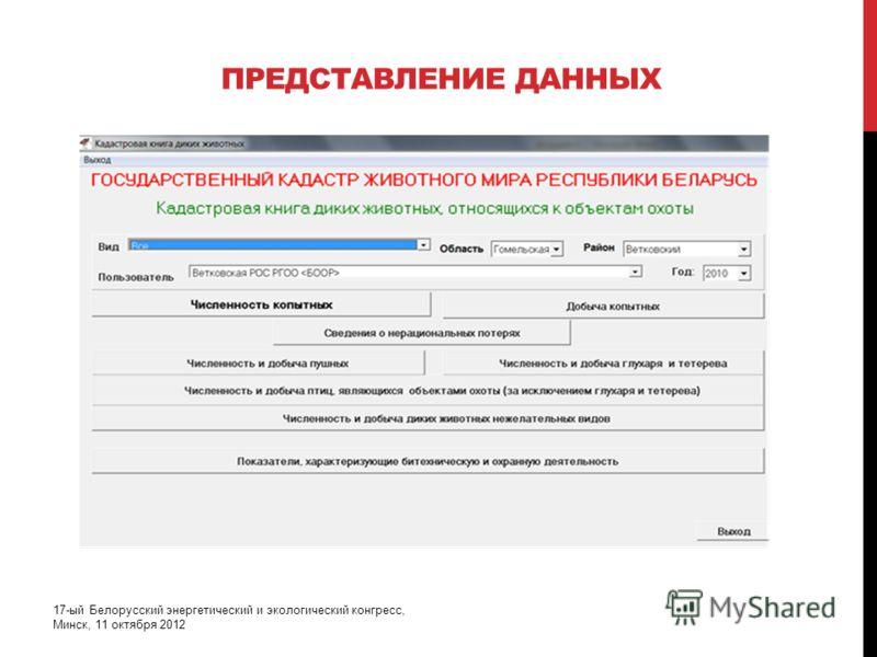 ПРЕДСТАВЛЕНИЕ ДАННЫХ 17-ый Белорусский энергетический и экологический конгресс, Минск, 11 октября 2012