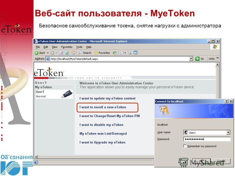 Веб-сайт пользователя - MyeToken Безопасное самообслуживание токена, снятие нагрузки с администратора