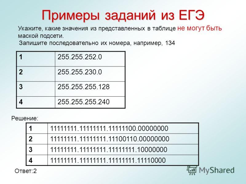 Примеры заданий из ЕГЭ 1255.255.252.0 2255.255.230.0 3255.255.255.128 4255.255.255.240 Укажите, какие значения из представленных в таблице не могут быть маской подсети. Запишите последовательно их номера, например, 134 111111111.11111111.11111100.000