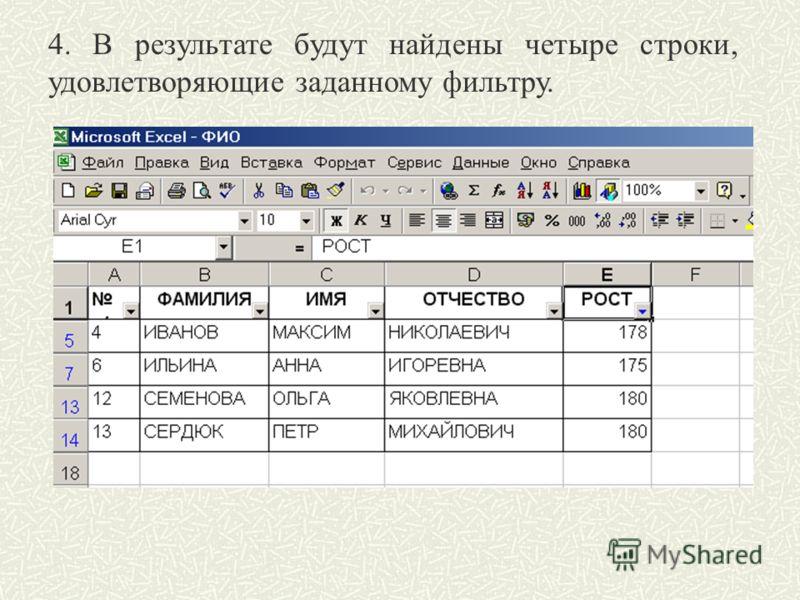 4. В результате будут найдены четыре строки, удовлетворяющие заданному фильтру.