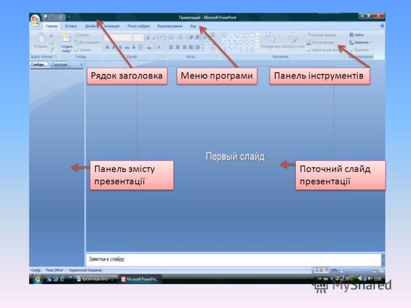 Рядок заголовка Меню програми Панель інструментів Панель змісту презентації Поточний слайд презентації