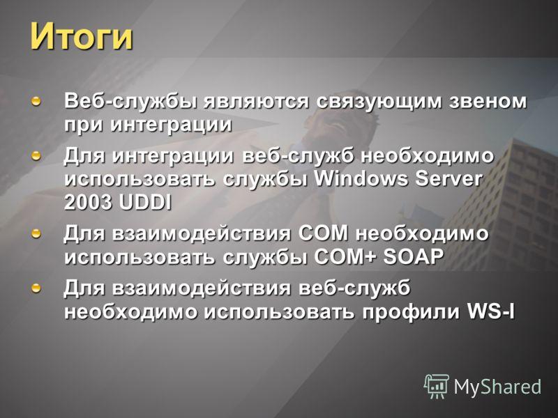 Итоги Веб-службы являются связующим звеном при интеграции Для интеграции веб-служб необходимо использовать службы Windows Server 2003 UDDI Для взаимодействия COM необходимо использовать службы COM+ SOAP Для взаимодействия веб-служб необходимо использ