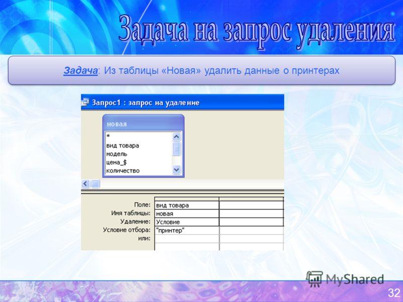32 Задача: Из таблицы «Новая» удалить данные о принтерах