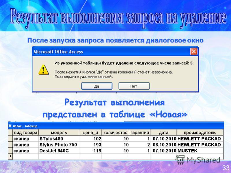 33 После запуска запроса появляется диалоговое окно Результат выполнения представлен в таблице «Новая»