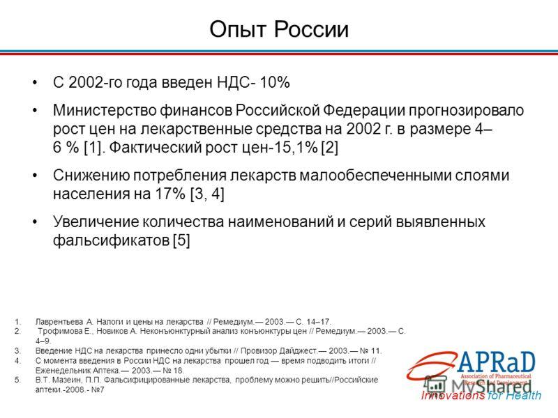 Innovations for Health Опыт России С 2002-го года введен НДС- 10% Министерство финансов Российской Федерации прогнозировало рост цен на лекарственные средства на 2002 г. в размере 4– 6 % [1]. Фактический рост цен-15,1% [2] Снижению потребления лекарс
