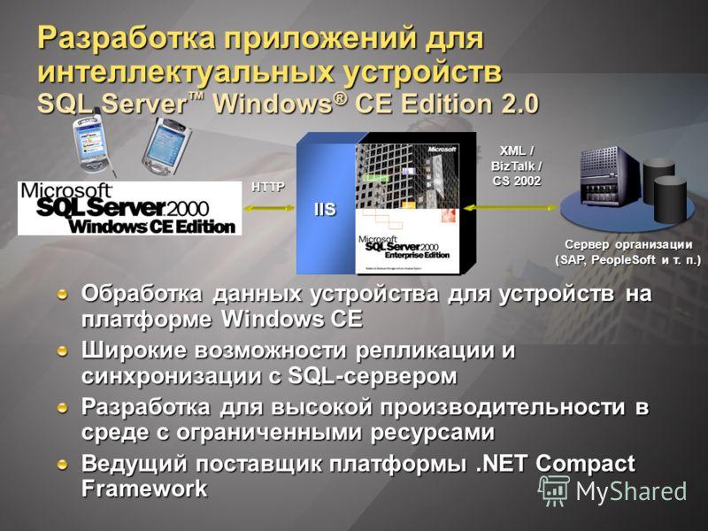 Разработка приложений для интеллектуальных устройств SQL Server Windows ® CE Edition 2.0 Обработка данных устройства для устройств на платформе Windows CE Широкие возможности репликации и синхронизации с SQL-сервером Разработка для высокой производит