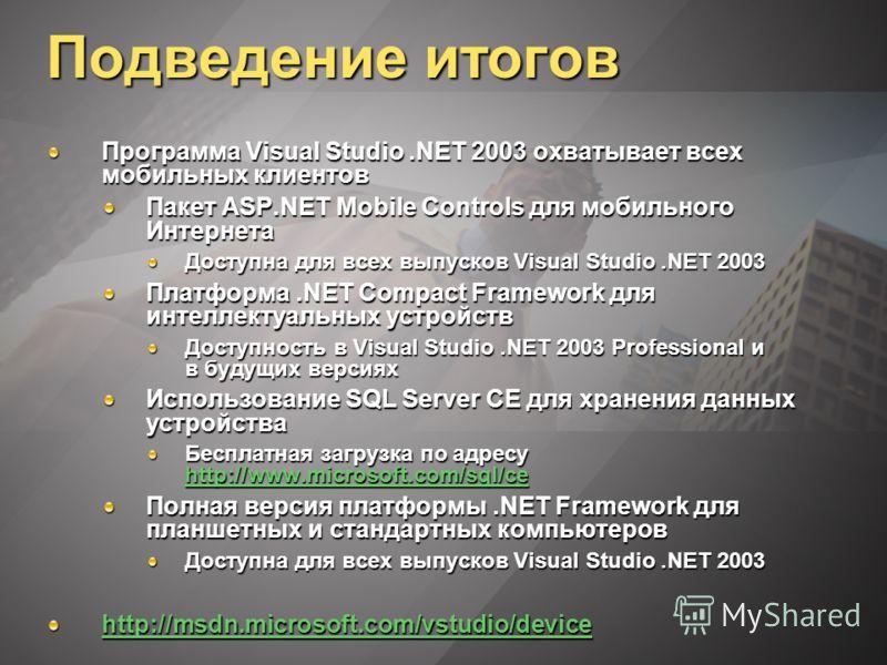 Подведение итогов Программа Visual Studio.NET 2003 охватывает всех мобильных клиентов Пакет ASP.NET Mobile Controls для мобильного Интернета Доступна для всех выпусков Visual Studio.NET 2003 Платформа.NET Compact Framework для интеллектуальных устрой