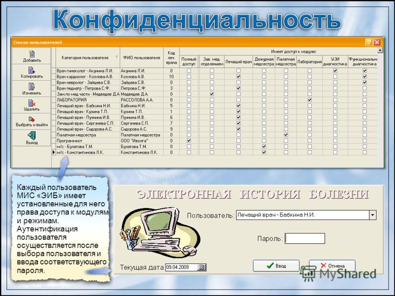 Каждый пользователь МИС «ЭИБ» имеет установленные для него права доступа к модулям и режимам. Аутентификация пользователя осуществляется после выбора пользователя и ввода соответствующего пароля.