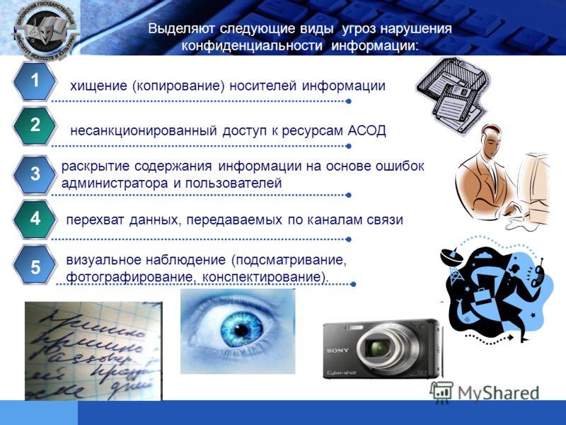 LOGO Contents хищение (копирование) носителей информации 1 несанкционированный доступ к ресурсам АСОД 2 раскрытие содержания информации на основе ошибок администратора и пользователей 3 перехват данных, передаваемых по каналам связи 4 Выделяют следую