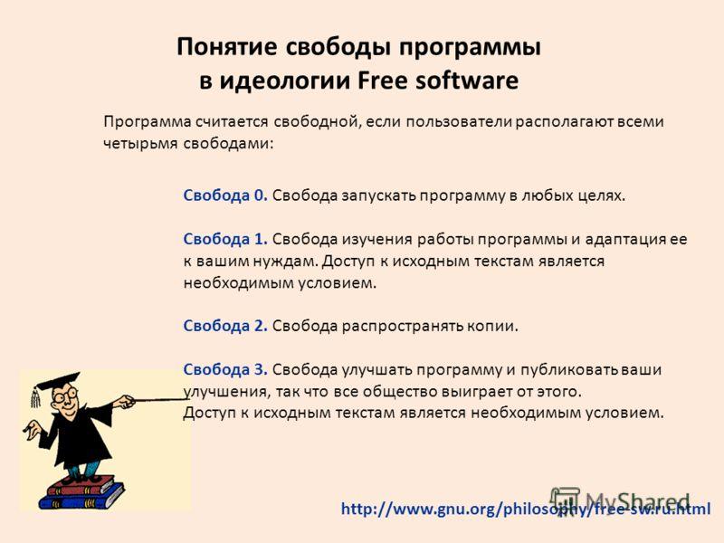 Понятие свободы программы в идеологии Free software Программа считается свободной, если пользователи располагают всеми четырьмя свободами: http://www.gnu.org/philosophy/free-sw.ru.html Свобода 0. Свобода запускать программу в любых целях. Свобода 1.