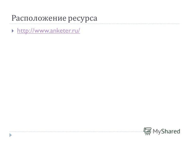 Расположение ресурса http://www.anketer.ru/