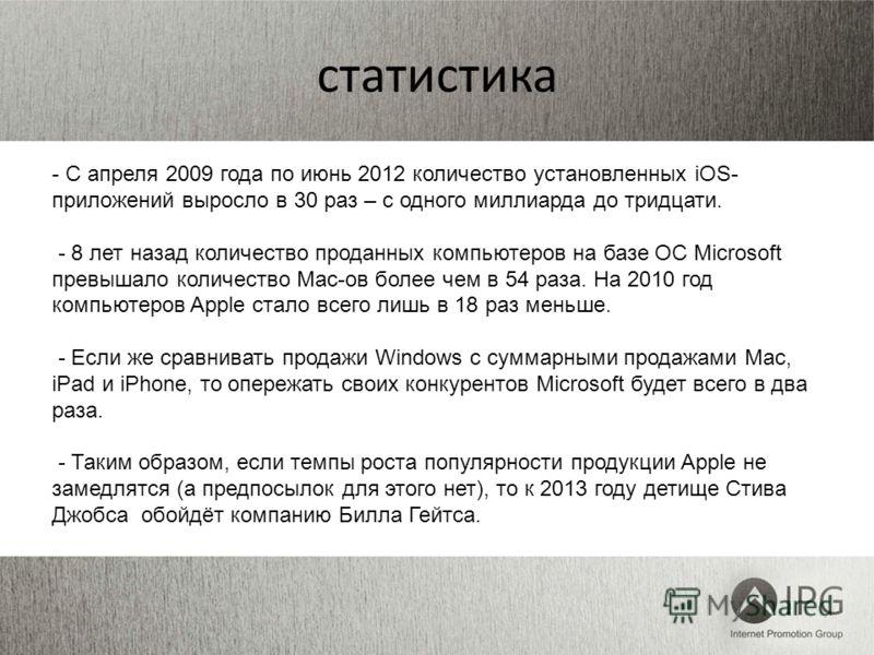 статистика - С апреля 2009 года по июнь 2012 количество установленных iOS- приложений выросло в 30 раз – с одного миллиарда до тридцати. - 8 лет назад количество проданных компьютеров на базе ОС Microsoft превышало количество Mac-ов более чем в 54 ра