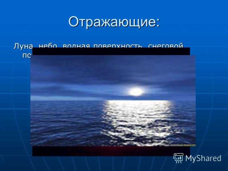 Отражающие: Луна, небо, водная поверхность, снеговой покров…