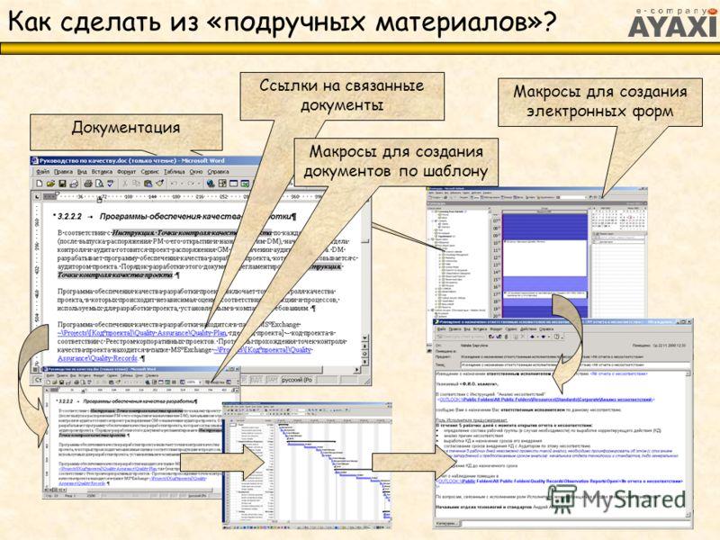 Как сделать из «подручных материалов»? Единое информационное пространство (общие папки MS Exchange, доступ через MS Outlook) Документация Ссылки на связанные документы Макросы для создания документов по шаблону Макросы для создания электронных форм