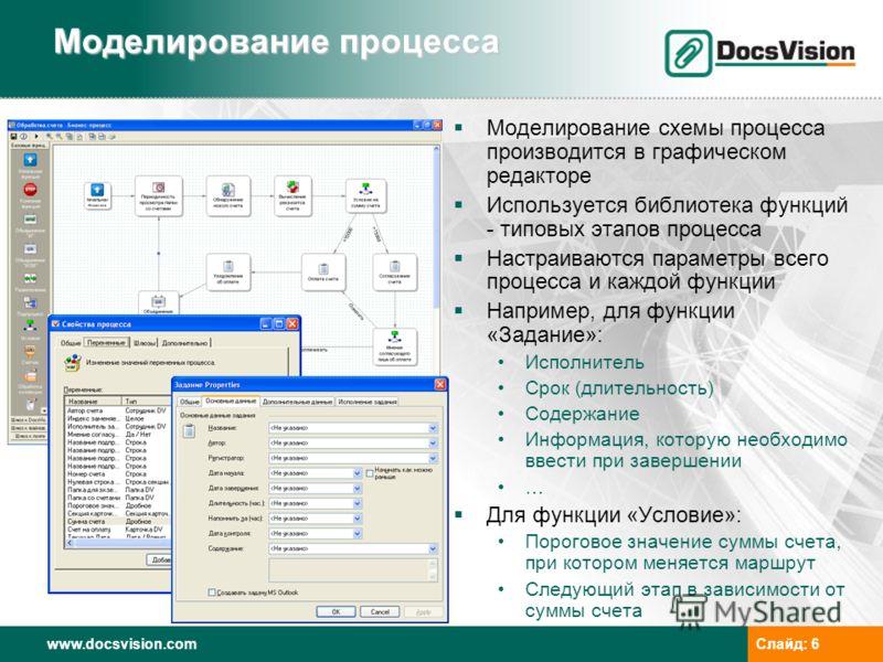 www.docsvision.comСлайд: 6 Моделирование процесса Моделирование схемы процесса производится в графическом редакторе Используется библиотека функций - типовых этапов процесса Настраиваются параметры всего процесса и каждой функции Например, для функци