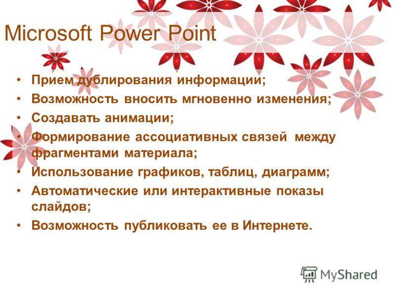 Microsoft Power Point Прием дублирования информации; Возможность вносить мгновенно изменения; Создавать анимации; Формирование ассоциативных связей между фрагментами материала; Использование графиков, таблиц, диаграмм; Автоматические или интерактивны
