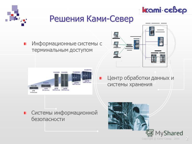 Решения Ками-Север Информационные системы с терминальным доступом Системы информационной безопасности Copyright © Ками-Север, 2006 Центр обработки данных и системы хранения