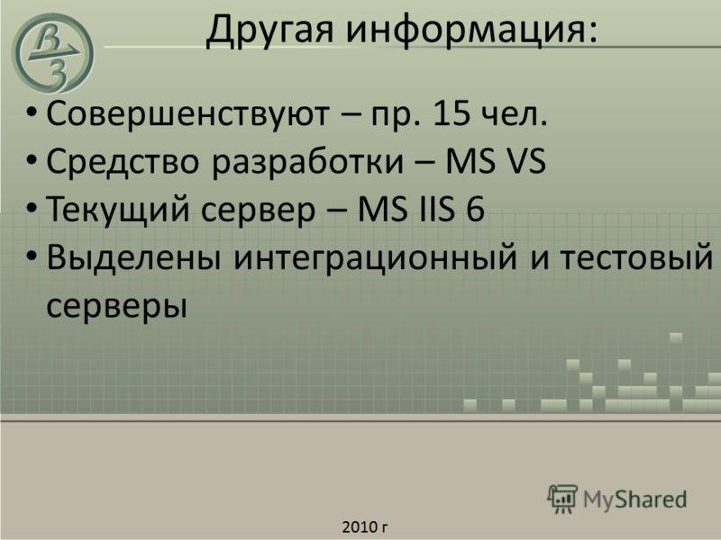 Другая информация: Совершенствуют – пр. 15 чел. Средство разработки – MS VS Текущий сервер – MS IIS 6 Выделены интеграционный и тестовый серверы