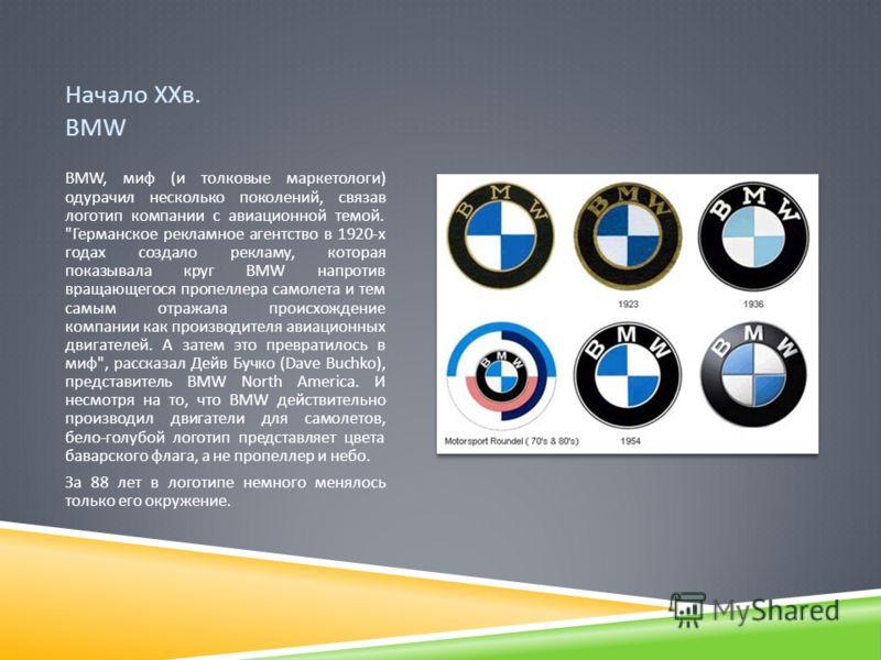 Начало ХХв. BMW BMW, миф ( и толковые маркетологи ) одурачил несколько поколений, связав логотип компании с авиационной темой.