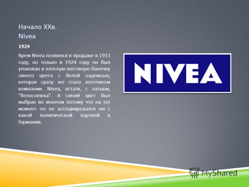 Начало ХХв. Nivea 1924 Крем Nivea появился в продаже в 1911 году, но только в 1924 году он был упакован в плоскую жестяную баночку синего цвета с белой надписью, которая сразу же стала логотипом компании. Nivea, кстати, с латыни,