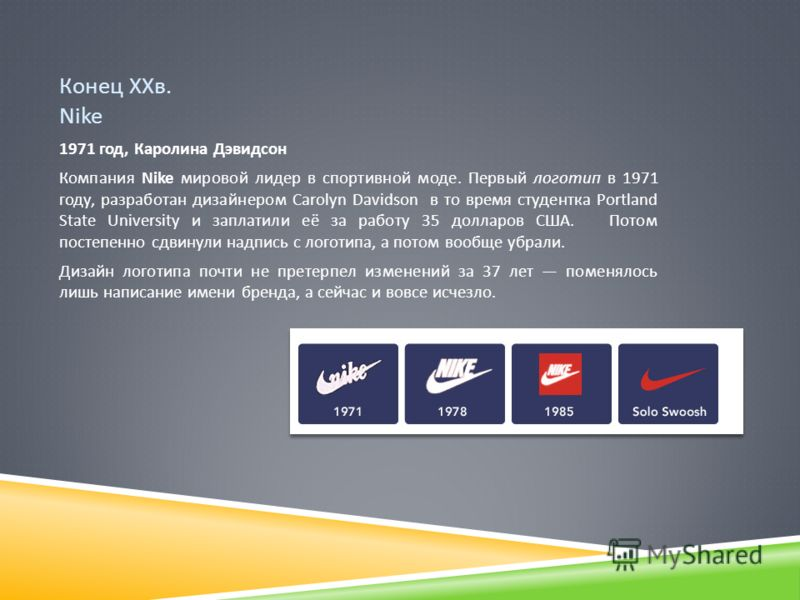 Конец ХХв. Nike 1971 год, Каролина Дэвидсон Компания Nike мировой лидер в спортивной моде. Первый логотип в 1971 году, разработан дизайнером Carolyn Davidson в то время студентка Portland State University и заплатили её за работу 35 долларов США. Пот