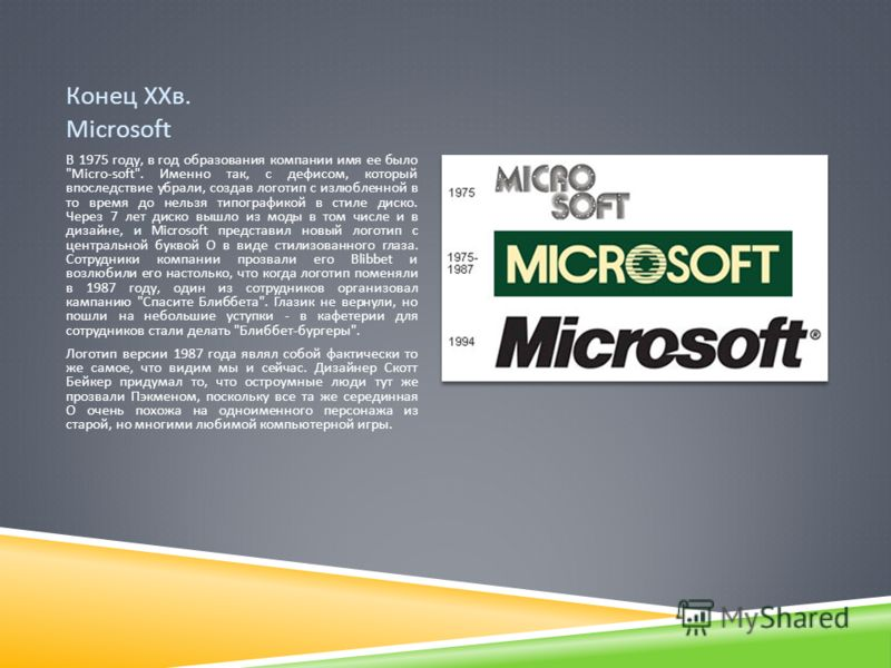 Конец ХХв. Microsoft В 1975 году, в год образования компании имя ее было