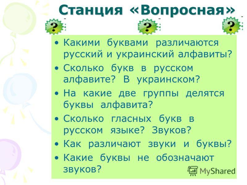 Станция «Вопросная» Какими буквами различаются русский и украинский алфавиты? Сколько букв в русском алфавите? В украинском? На какие две группы делятся буквы алфавита? Сколько гласных букв в русском языке? Звуков? Как различают звуки и буквы? Какие