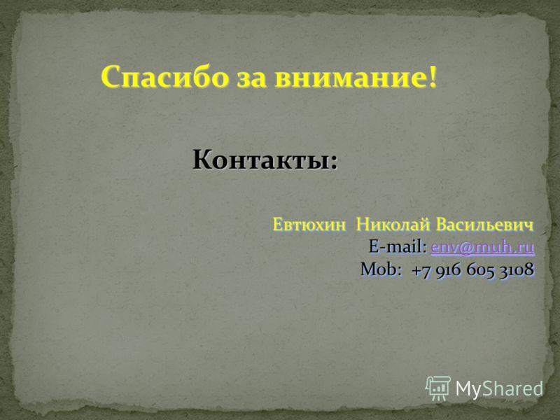 Спасибо за внимание! Контакты: Контакты: Евтюхин Николай Васильевич E-mail: env@muh.ru env@muh.ru Mob: +7 916 605 3108 Евтюхин Николай Васильевич E-mail: env@muh.ru env@muh.ru Mob: +7 916 605 3108