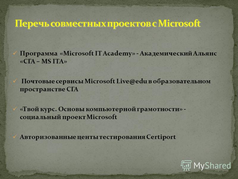 Программа «Microsoft IT Academy» - Академический Альянс «СГА – MS ITA» Почтовые сервисы Microsoft Live@edu в образовательном пространстве СГА «Твой курс. Основы компьютерной грамотности» - социальный проект Microsoft Авторизованные центы тестирования