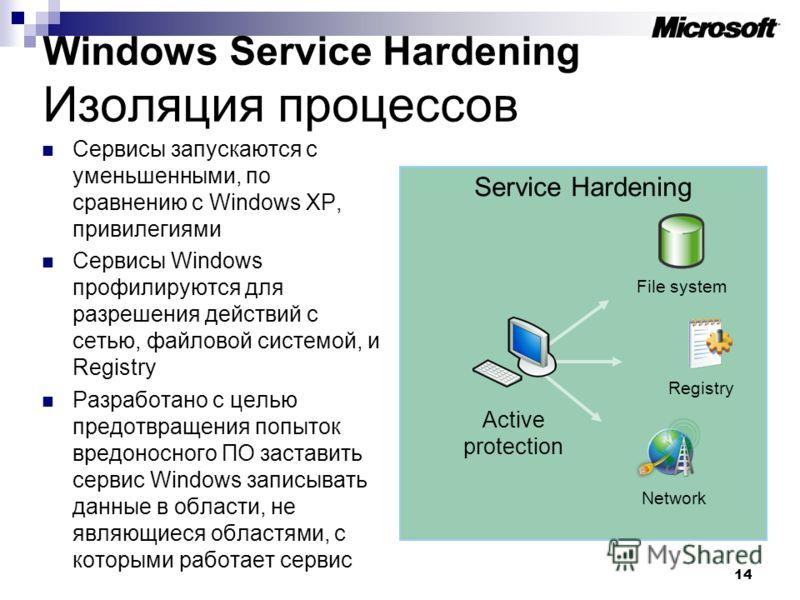 14 Service Hardening Windows Service Hardening Изоляция процессов Сервисы запускаются с уменьшенными, по сравнению с Windows XP, привилегиями Сервисы Windows профилируются для разрешения действий с сетью, файловой системой, и Registry Разработано с ц