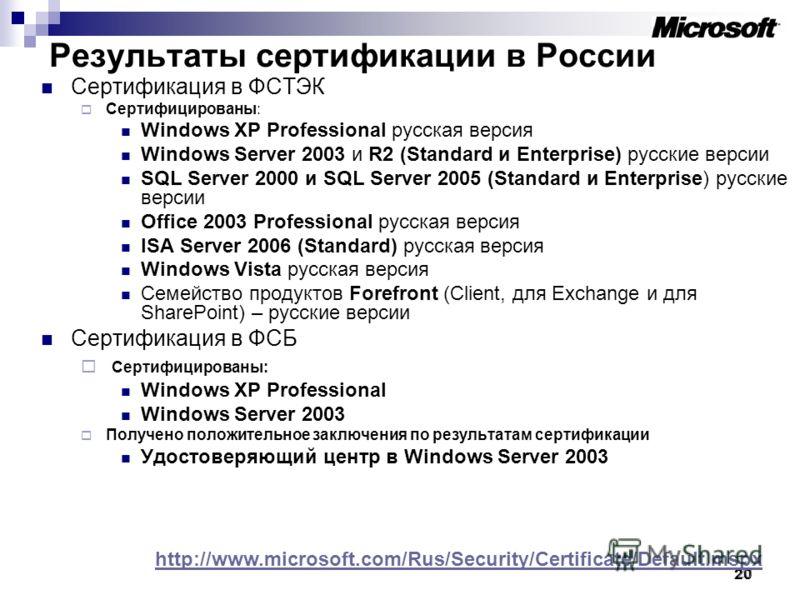 20 Результаты сертификации в России Сертификация в ФСТЭК Сертифицированы: Windows XP Professional русская версия Windows Server 2003 и R2 (Standard и Enterprise) русские версии SQL Server 2000 и SQL Server 2005 (Standard и Enterprise) русские версии