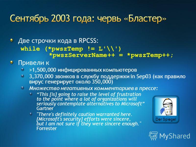 Две строчки кода в RPCSS: while (*pwszTemp != L'\\') *pwszServerName++ = *pwszTemp++; Привели к >1,500,000 инфицированных компьютеров 3,370,000 звонков в службу поддержки in Sep03 (как правило вирус генерирует около 350,000) Множество негативных комм