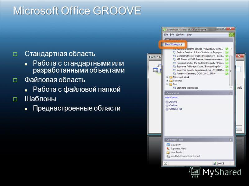 Microsoft Office GROOVE Стандартная область Работа с стандартными или разработанными объектами Файловая область Работа с файловой папкой Шаблоны Преднастроенные области