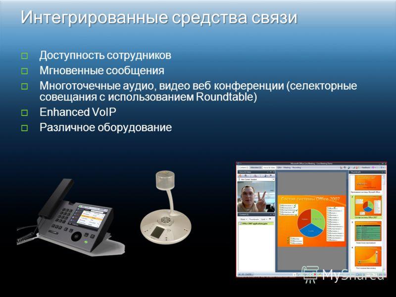 Доступность сотрудников Мгновенные сообщения Многоточечные аудио, видео веб конференции (селекторные совещания с использованием Roundtable) Enhanced VoIP Различное оборудование Интегрированные средства связи
