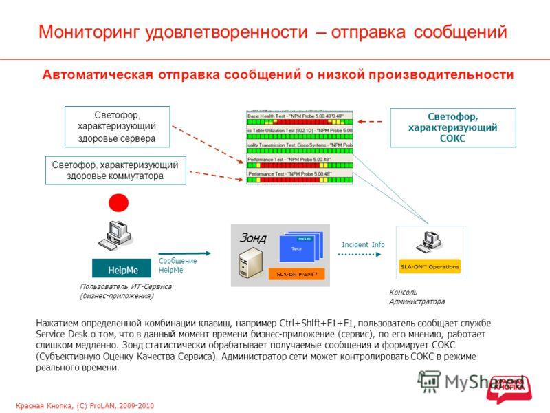 Красная Кнопка, (С) ProLAN, 2009-2010 Мониторинг удовлетворенности – отправка сообщений Нажатием определенной комбинации клавиш, например Ctrl+Shift+F1+F1, пользователь сообщает службе Service Desk о том, что в данный момент времени бизнес-приложение