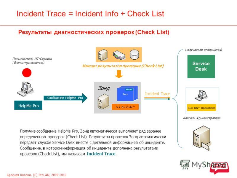 Красная Кнопка, (С) ProLAN, 2009-2010 Incident Trace = Incident Info + Check List Результаты диагностических проверок (Check List) HelpMe Pro Сообщение HelpMe Pro Получив сообщение HelpMe Pro, Зонд автоматически выполняет ряд заранее определенных про