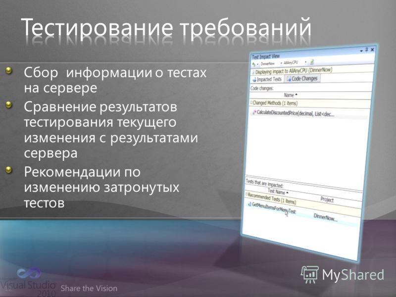 12 Сбор информации о тестах на сервере Сравнение результатов тестирования текущего изменения с результатами сервера Рекомендации по изменению затронутых тестов