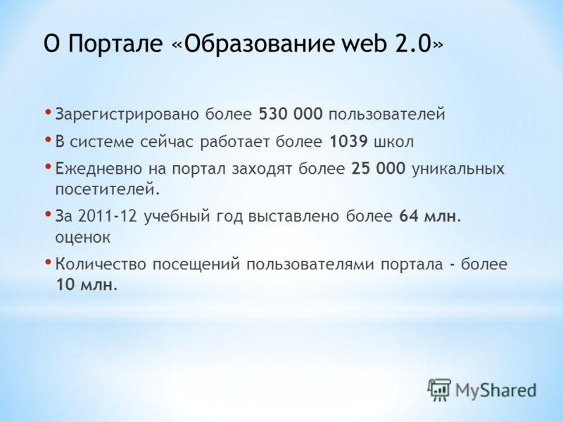Зарегистрировано более 530 000 пользователей В системе сейчас работает более 1039 школ Ежедневно на портал заходят более 25 000 уникальных посетителей. За 2011-12 учебный год выставлено более 64 млн. оценок Количество посещений пользователями портала