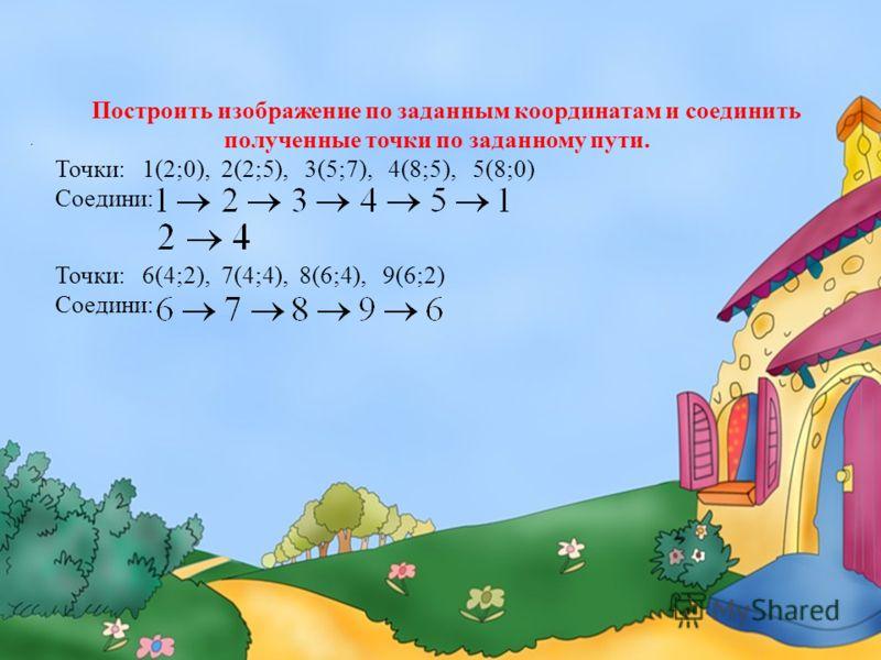 . Построить изображение по заданным координатам и соединить полученные точки по заданному пути. Точки: 1(2;0), 2(2;5), 3(5;7), 4(8;5), 5(8;0) Соедини: Точки: 6(4;2), 7(4;4), 8(6;4), 9(6;2) Соедини: