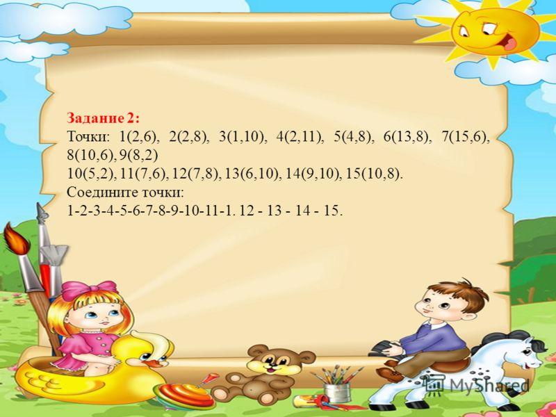 Задание 2: Точки: 1(2,6), 2(2,8), 3(1,10), 4(2,11), 5(4,8), 6(13,8), 7(15,6), 8(10,6), 9(8,2) 10(5,2), 11(7,6), 12(7,8), 13(6,10), 14(9,10), 15(10,8). Соедините точки: 1-2-3-4-5-6-7-8-9-10-11-1. 12 - 13 - 14 - 15.