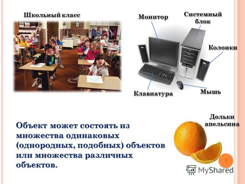 Объект может состоять из множества одинаковых (однородных, подобных) объектов или множества различных объектов. Школьный класс Системный блок КлавиатураКлавиатура МышьМышь КолонкиКолонки МониторМонитор 8 Дольки апельсина