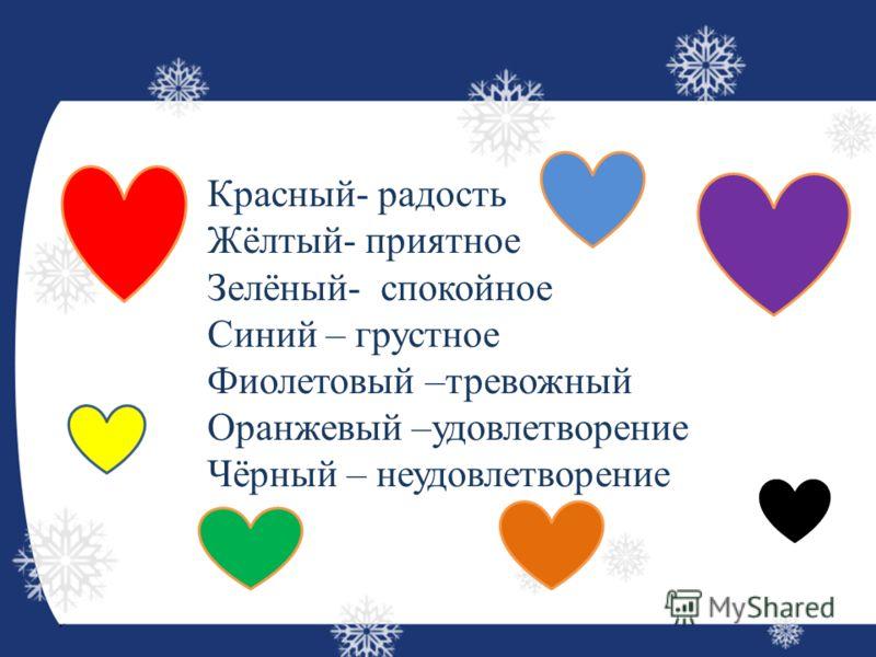 Красный- радость Жёлтый- приятное Зелёный- спокойное Синий – грустное Фиолетовый –тревожный Оранжевый –удовлетворение Чёрный – неудовлетворение